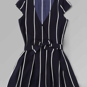 Other - Vertical Striped Surplice Romper With Belt